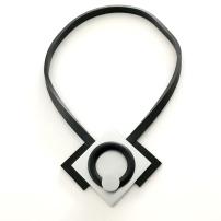 Halsband i aluminium och gummi, ALU010